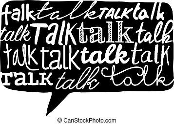 Cartoon illustration of multiple handwritten talk word