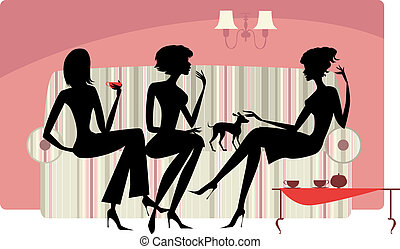 Vector silhouettes of three ladies talking and drinking coffee