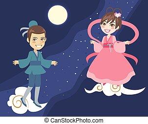 Tanabata couple Orihime and Hikoboshi on milky way background. Japanese or chinese summer festival celebration