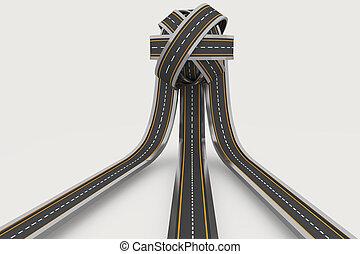 Tangled ball of roads