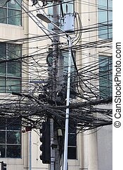 Tangled electric wires of Manila, Philippines