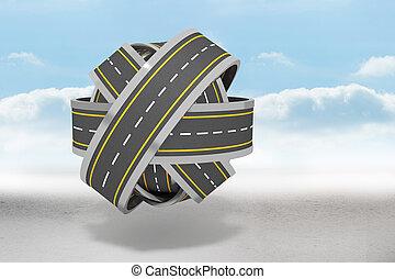 Tangled roads in a ball