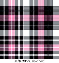 Black and pink checkered tartan pattern, vector seamless pattern, repeat design.