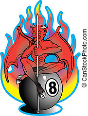 Tattoo design of a devil with wings sitting on an eight ball and holding a pool cue or stick with flames in the background.