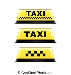 Taxi sign isolated on white vector