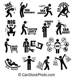 A set of human stick figure representing taxpayer concept of tax burden, tax avoidance, tax evasion, tax loopholes, heavy tax, custom duty, service tax, tax audit, tax cut, vat, tax relief, and tax free.