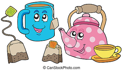 Tea collection on white background - vector illustration.