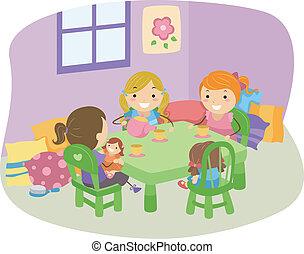 Illustration of LIttle Girls Having a Tea Party