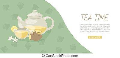 Tea time banner with aromatic herbal tea, ginge, chamomile, lemon and teapot vector illustration.
