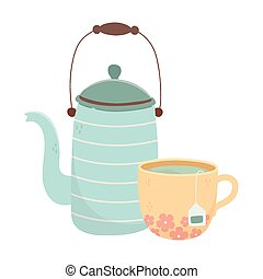 tea time, kettle and cup with tea bag beverage design
