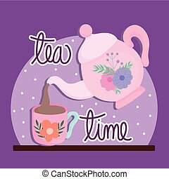 Tea time, kettle pouring tea in cup with flower