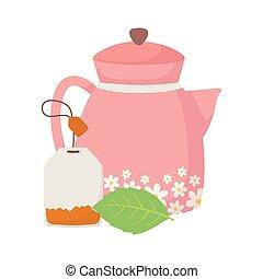 tea time, kettle with flowers and tea bag leaf herb beverage