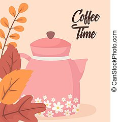 tea time, kettle with flowers foliage leaves decoration