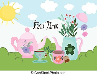 Tea time, kettles cups with herbs leaves nature landscape