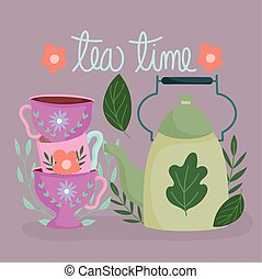 tea time, stack of cups with flowers and kettle, kitchen ceramic drinkware, floral design cartoon