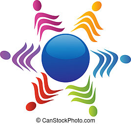 Team around of world logo