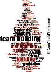 Team building power word cloud concept. Vector illustration