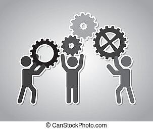 team work over gray background vector illustration