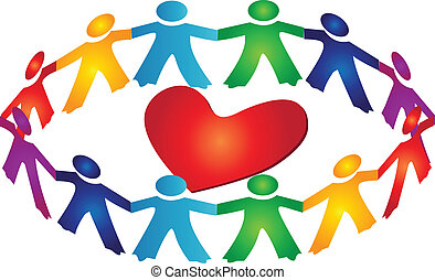 Circle of social persons or children around heart logo