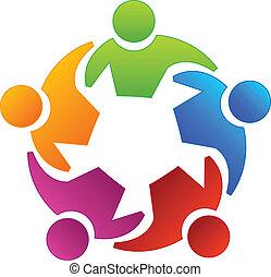 Teamwork diversity people icon vector.
