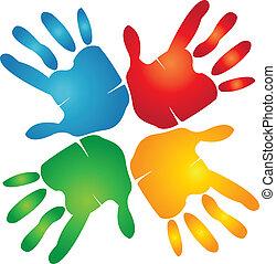 Teamwork hands around colorful logo