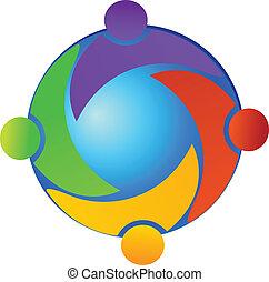 Teamwork on the world logo vector