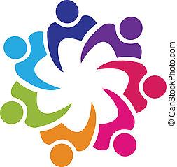 Teamwork union people logo vector