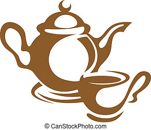 Simple monotone icon of a teapot and cup and saucer in brown, over white background