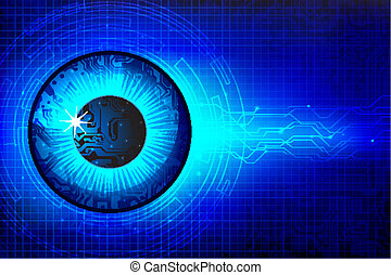 illustration of abstract eye in technological background