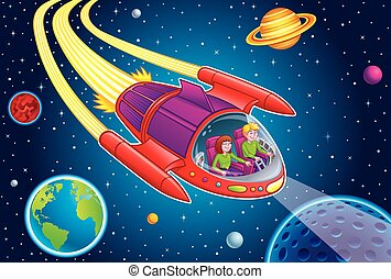 Cartoon illustration of a teenage boy and girl blasting through outer space in a space ship with stars, planets, and moons in the background.