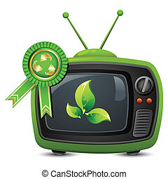 Television with Recycle Badge