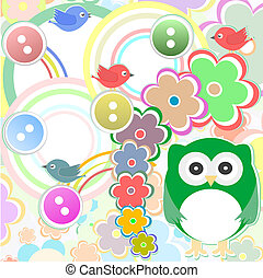 Template greeting card with owl bird and flowers, scrap