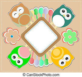 Template greeting card with owls and flowers