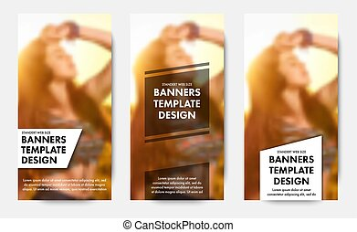 Templates for vertical web banners with transparent white and black elements for text. Design standard size for advertising.