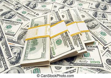 Ten thousand dollar stacks on money background