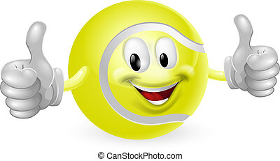 Illustration of a cute happy tennis ball mascot man smiling and giving a thumbs up