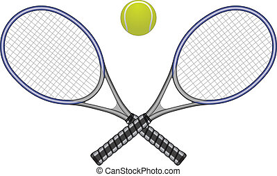 Illustration of a tennis ball and two crossed rackets. Great for logo designs and t-shirts.