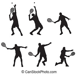 Abstract vector illustration of tennis player silhouette