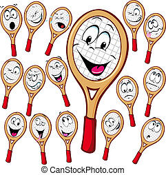 Tennis racket cartoon with many facial expressions