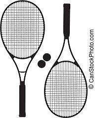 Tennis Racket Silhouettes Vector