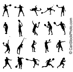 many tennis silhouettes with high detail
