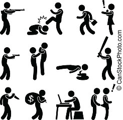A set of human figure and pictogram representing violence and crime.