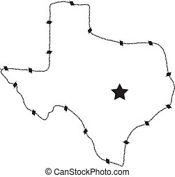 This is a vector of Texas made form barb wire