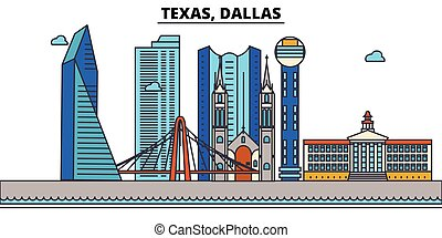 Texas, Dallas. City skyline: architecture, buildings, streets, silhouette, landscape, panorama, landmarks, icons. Editable strokes. Flat design line vector illustration concept.