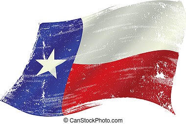 flag of Texas in the wind with a texture