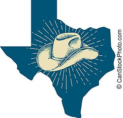 Texas map and cowboy hat design