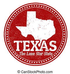 Vintage stamp with text The Lone Star State written inside and map of Texas, vector illustration
