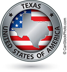Texas state silver label with state map, vector illustration