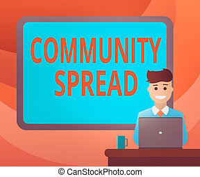 Text sign showing Community Spread. Conceptual photo dissemination of a highlycontagious disease within the local area Blank Bordered Board behind Man Sitting Smiling with Laptop Mug on Desk.