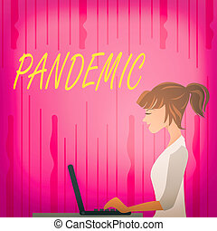 Text sign showing Pandemic. Conceptual photo occurring over a wide area affecting high proportion of population photo of Young Busy Woman Sitting Side View and Working on her Laptop.